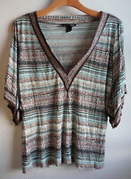 H&M Tribal Print Top Shirt Cold Shoulder Split Kimono Sleeve Mult-Color M L
