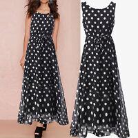 Ladies Women Polka Dot Boho Chiffon Summer Evening Long Maxi Spring Dress Skirt