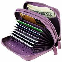 CHOICE OF 20 COLORS- Buxton Womens RFID Protected Credit Card & ID Wizard Wallet