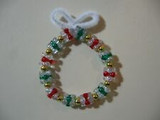 "3"" Wreath: Beaded Ornament (Christmas Colors, with glitter & gold) NEW handmade"