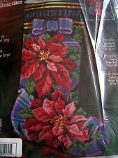 "Bucilla Christmas Longstitch Needlepoint Stocking Kit,POINSETTIA,18"",84650,Baatz"