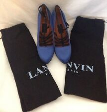Lanvin Blue & Black Satin Patent Leather Pumps Sz 39 w/ dust bags Made in Italy