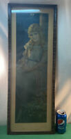 "Vtg 1920-30's MARY PICKFORD Daisy Flowers Print Tiger Stripe 30"" TALL Frame"