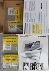 """Microsoft PowerPoint  v. 4.0- 12 Set 3.5"""" Floppy Disks Sealed With Book - New"""