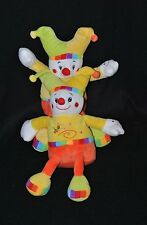 Lot 2 peluche doudou clown lutin FL b.v. jaune orange abeille grelot 22 cm NEUF
