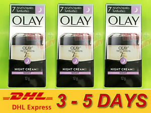 3 x 12g Olay Total Effects 7 in One  Night Cream Anti Ageing Firming Moisturiser