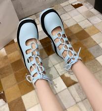 Womens Retro Cut Out Strap PU Roman Boots Chunky Heel  High-top Sandals Zha19
