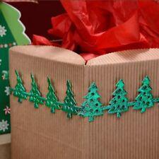 GREEN CHRISTMAS TREE RIBBON 25mm x 2 METERS FULL REEL XMAS CRAFT PRESENT WRAP