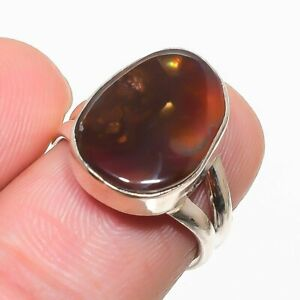 Mexican Fire Agate Handmade 925 Solid Sterling Silver Jewelry Ring Size 6.5