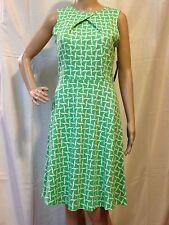 NY&COMPANY COTTON PRINTED GREEN PLEAT NECK FLARE DRESS SIZE: M (NEW ) # 4399