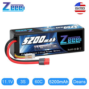 Zeee 5200mAh 60C 3S 11.1V Deans LiPo Battery for RC Car Helicopter Truck Boat