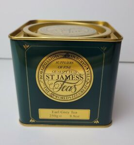 Metal Tea Caddy Storage Tin Vintage Retro Kitchen Container Gift Green Gold