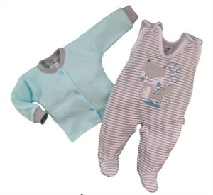 Baby Boys 2 Piece Outfit Set Top Baby grow Playsuit 100% Cotton 3-6 months