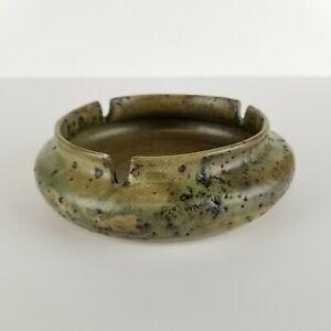 Mid Century Ashtray Lava Glaze Pottery Green Brown Vintage Trinket Dish Bowl Vtg