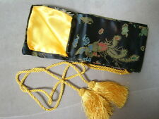 Black dragon and phoenix Silk Sword Bag For Katana  Bokken Shinai(TSUBA-MENUKI)