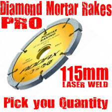 "2 x 115mm (4.5"")  LASER WELDED 10mm SEGMENT MORTAR POINTING RAKE DISCS , 22.2mm"