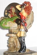 Kriegerin Amazone mit Totenkopf Spiegelbild, erotik Skull, 14x11x7cm