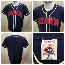 ATLANTA BRAVES MLB  TRUE FAN JERSEY Size M (38-40) BUTTON UP BLUE Short Sleeve