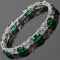 Fashion Jewelry Oval Green Emerald CZ 18K White Gold Plated Tennis Bracelet 7""
