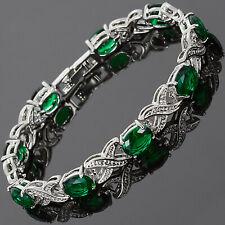 "Fashion Jewelry Oval Green Emerald CZ 18K White Gold Plated Tennis Bracelet 7"""