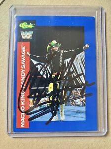Macho King Randy Savage 1991 Classic Autographed Signed Wrestling Card WWF WWE