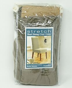 "Sure Fit Stretch Short Dining Chair Cover Slipcover 19"" W x 18"" D x 42"" H -Taupe"