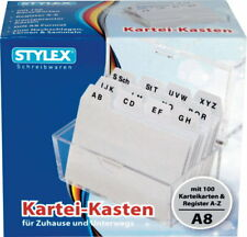 Karteikasten A8 + 100 Karteikarten + Register Karteibox Transparent Memobox