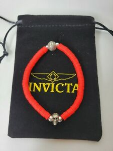 Invicta Men's Rubber Beaded Bracelet Red 35923 Skull