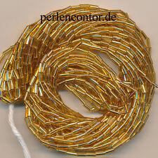 Stiftperlen  29 g  gold Silberblatt  4,8 mm  Bugles  Perlen, Strang  (AZ1200)