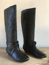 NEW $500 Rafe Serena Black Washed Buffalo Leather Tall Wedge Boots Shoes Sz 7.5