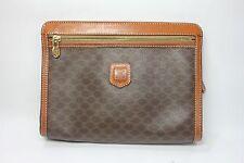 Authentic CELINE Paris ladies hand Bag Clutch bag Brown Macadam Canvas France
