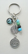Libra The Scales Star Sign Zodiac Glass Cabochon Keyring or Bag Charm  KCJ2605