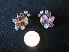 Vintage Signed Karu Arke Inc. Costume Clip Earrings Purple Glass and Rhinestones