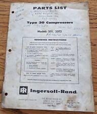 Ingersoll Rand Parts List Model 20t Type 30 Air Compressor Manual Vintage 1965