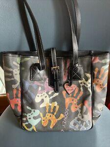 Dooney and Bourke Rare Gray Handprint SHOPPER TOTE bag purse Made In USA