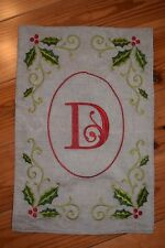"""Monogram """"D"""" Mini Garden Flag Personalized 18 x 12 Burlap and Embroidery"""