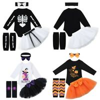Newborn Baby Girls Romper Skeleton Jumpsuits Halloween Outfits Set Kids  Clothes