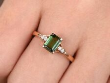 2.50CT Emerald Cut Green Peridot Solid 14k Rose Gold Over Engagement Ring 925