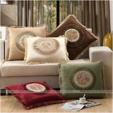 Velvet Embroidered Floral Cushion Cover Home Decor Throw Pillow Case with Fringe