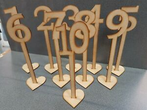 Freestanding Wooden Table Numbers Wedding Table Party Craft Rustic