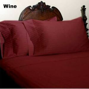 King Wine Striped 4 Piece Bed Sheet Set 1000 Thread Count 100% Egyptian Cotton