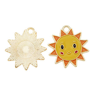 Gold Plated 22x20mm Yellow Enamel Sun Face Pendant Charms DIY Accessories 20pcs