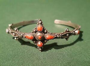 Ancien Bracelet Berbère Argent Et Corail Kabyle