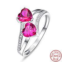 Bridal Heart Cut Ruby 100% S925 Sterling Gemstone Silver Ring Size L½ N½ P½ R½