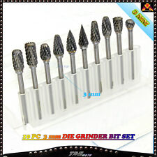 10 pcs Tungsten 3mm Drill Die Grinder Bit Set Carbide Burrs  Rotary  Au Stock