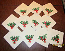 1950's VTG Set 11 CHRISTMAS NAPKINS Holly Bouquet & Ribbon Kobacker's Tag New