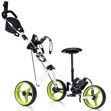 Foldable 3 Wheel Push Pull Golf Club Cart Trolley w/Seat Scoreboard Bag Swivel