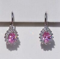 Echt 925 Sterling Silber Ohrringe mit Zirkonia rosa crystal Tropfen Nr 75R