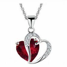 Elegant Women's Ladies red Zircon Heart Crystal Sliver Chain Pendant Necklace