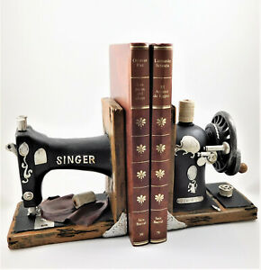 Vintage Singer Sewing Machine Bookends Shelf Tidy Statue Figurine Book Ends NEW